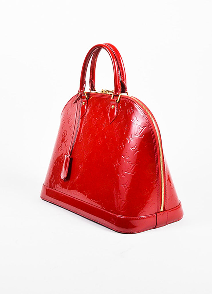 "Louis Vuitton ""Pomme"" Red ""Vernis"" Leather Monogram ""Alma GM"" Satchel Bag Sideview"