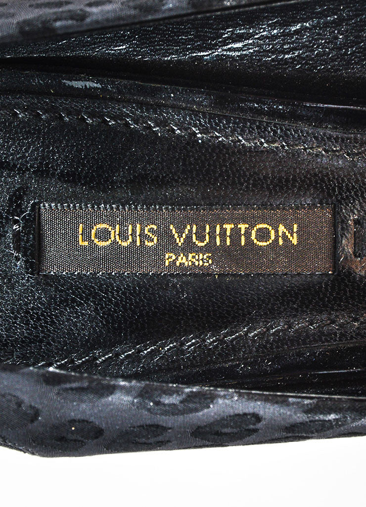 Black Louis Vuitton Satin Leopard Print Pointed Toe Slingback Pumps Brand