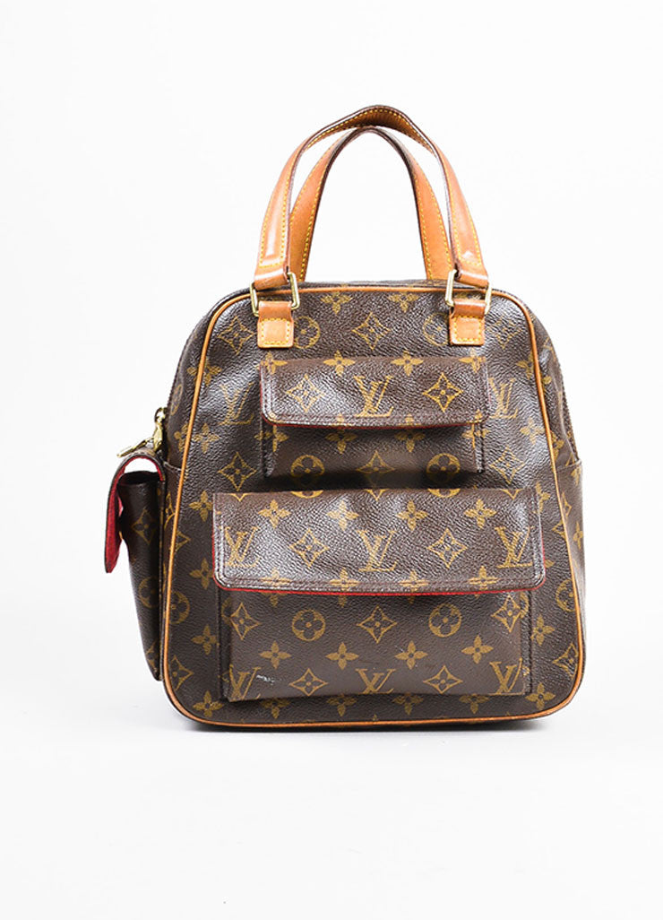 Louis Vuitton Brown Coated Canvas Mongram Multi Pocket 'Excentri-Cite' Tote Bag Frontview