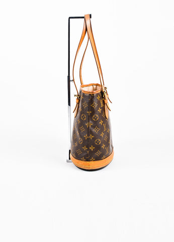 "Louis Vuitton Brown and Tan Coated Canvas and Leather ""Petite Bucket"" Shoulder Bag Sideview"