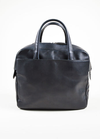 Black Leather Maison Martin Margiela Bowler Bag Front