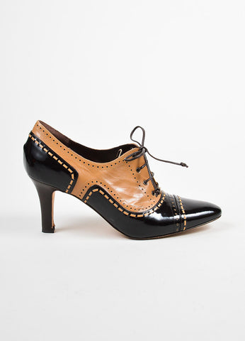 Brown and Tan Manolo Blahnik Leather Patent Perforated Lace Up Oxford Pumps Sideview