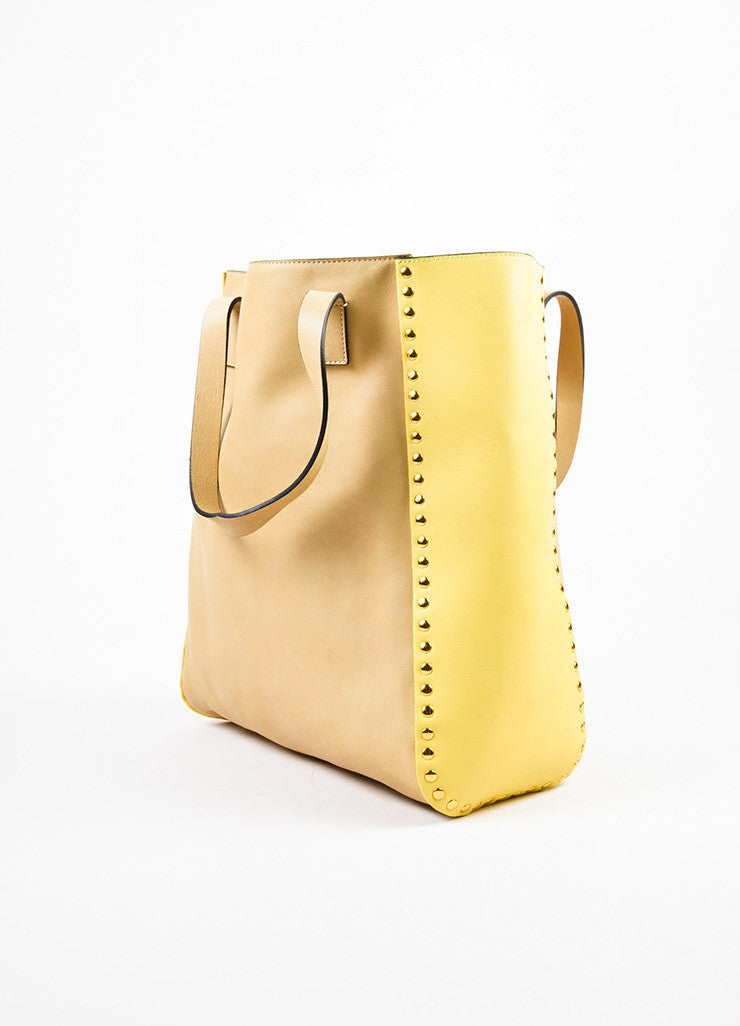 Marni Tan and Yellow Leather Studded Accent Bicolor Color Block Shoulder Tote Bag Sideview