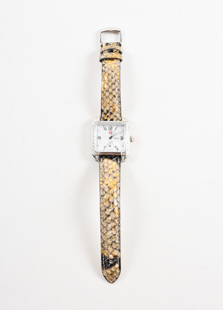 "Michele Silver Stainless Steel Diamond Pave Reptile Straps ""Milou"" Watch Frontview"