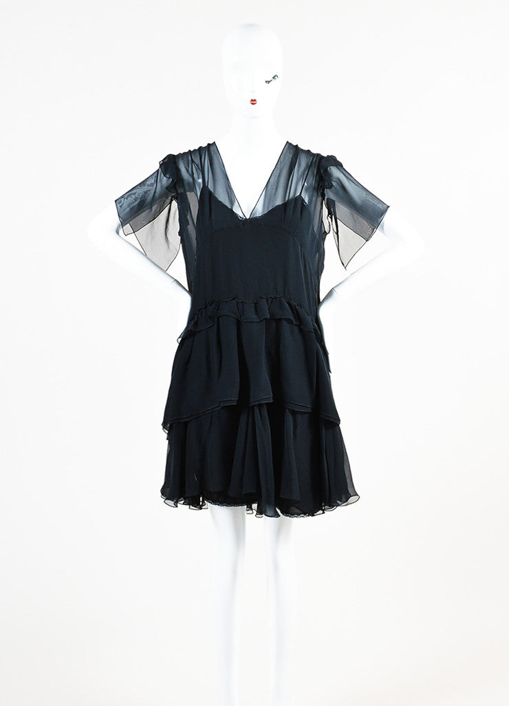 Miu Miu Black Silk Sheer V-Neck Short Sleeve Ruffled Dress Frontview