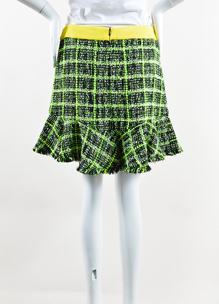 Neon Yellow, Green and Black Moschino Cheap and Chic Tweed Skirt Back