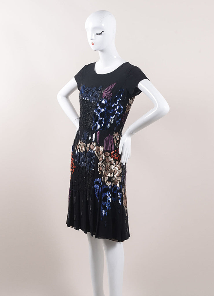 Oscar de la Renta Black and Multicolor Silk Embellished Cocktail Dress Sideview