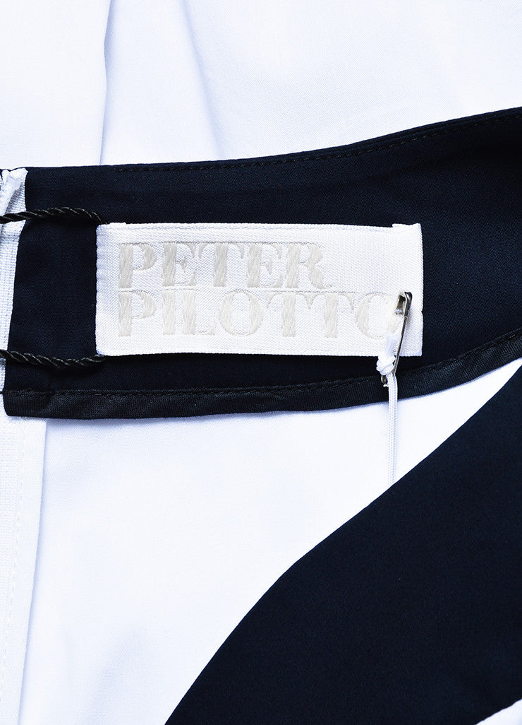 "White & Navy Peter Pilotto Cotton Buttoned ""Penta"" Dress Brand"