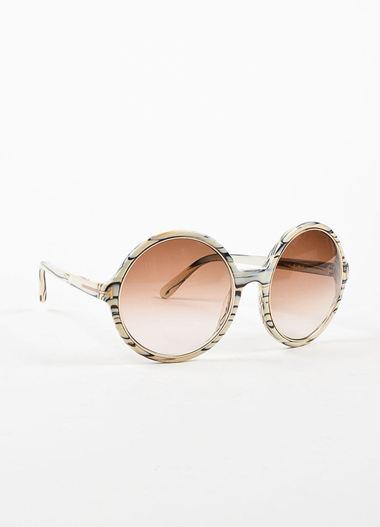"Tom Ford Cream, Brown, and Grey Marbleized Round ""Carrie"" Sunglasses Sideview"