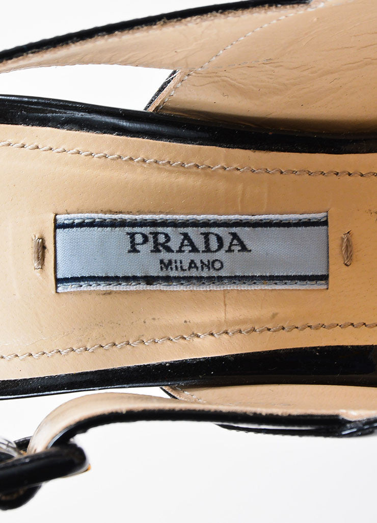 Prada Black Patent Leather Cross Strap Chunky Sandal Heels Brand