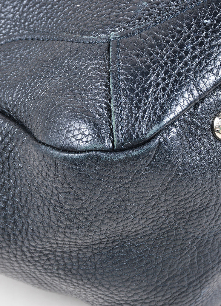 Prada Black Pebbled Leather Shopping Tote Bag Detail