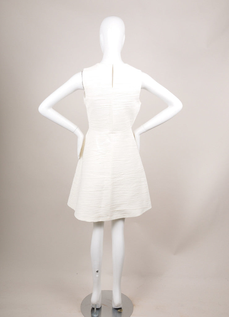 Proenza Schouler Cream Textured Crepe Sleeveless Flared Dress Backview