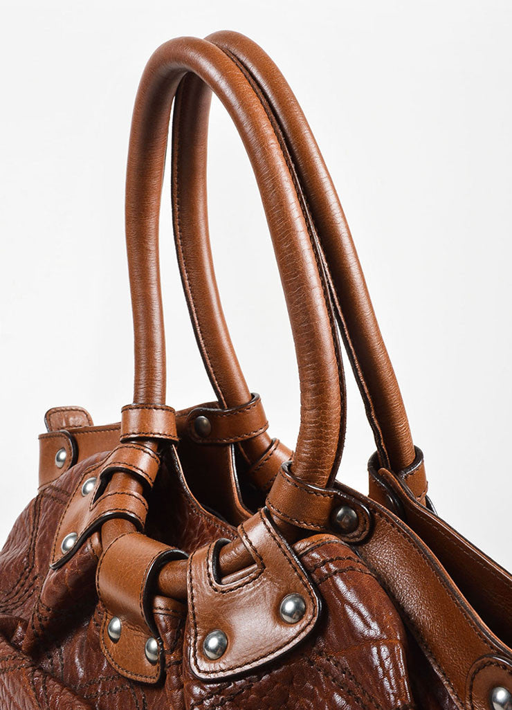 "Salvatore Ferragamo Brown Pebbled Leather Quilted Stitch ""Celtico"" Shoulder Bag Detail 2"
