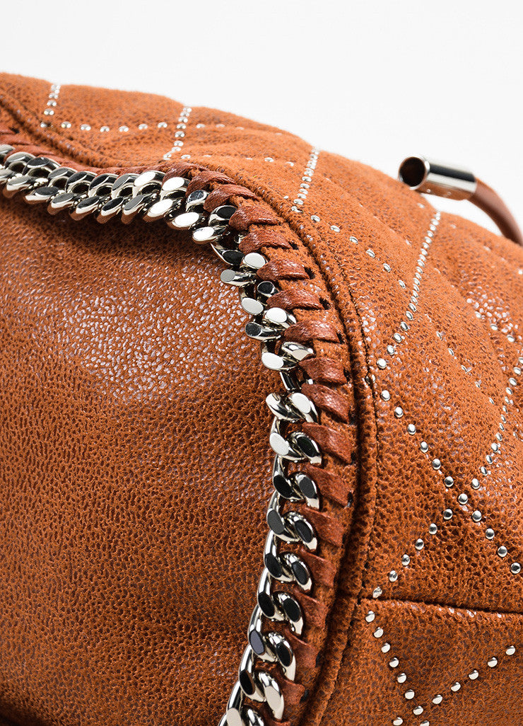 Stella McCartney Cognac Vegan Leather Studded Quilted Mini Bucket Bag Detail