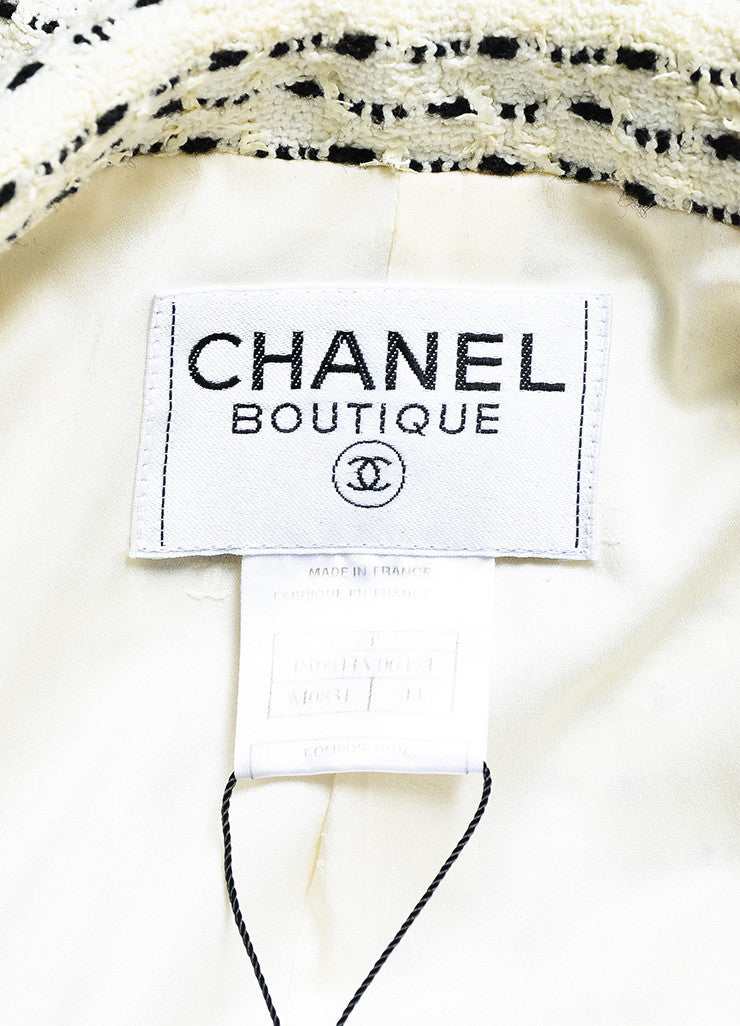 White & Black Chanel Boutique Textured Knit Buttoned Jacket Brand