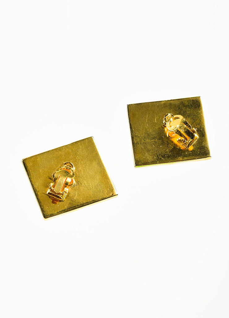 Gold Toned, Red, and Black Leather Chanel 'CC' Square Clip On Earrings Backview