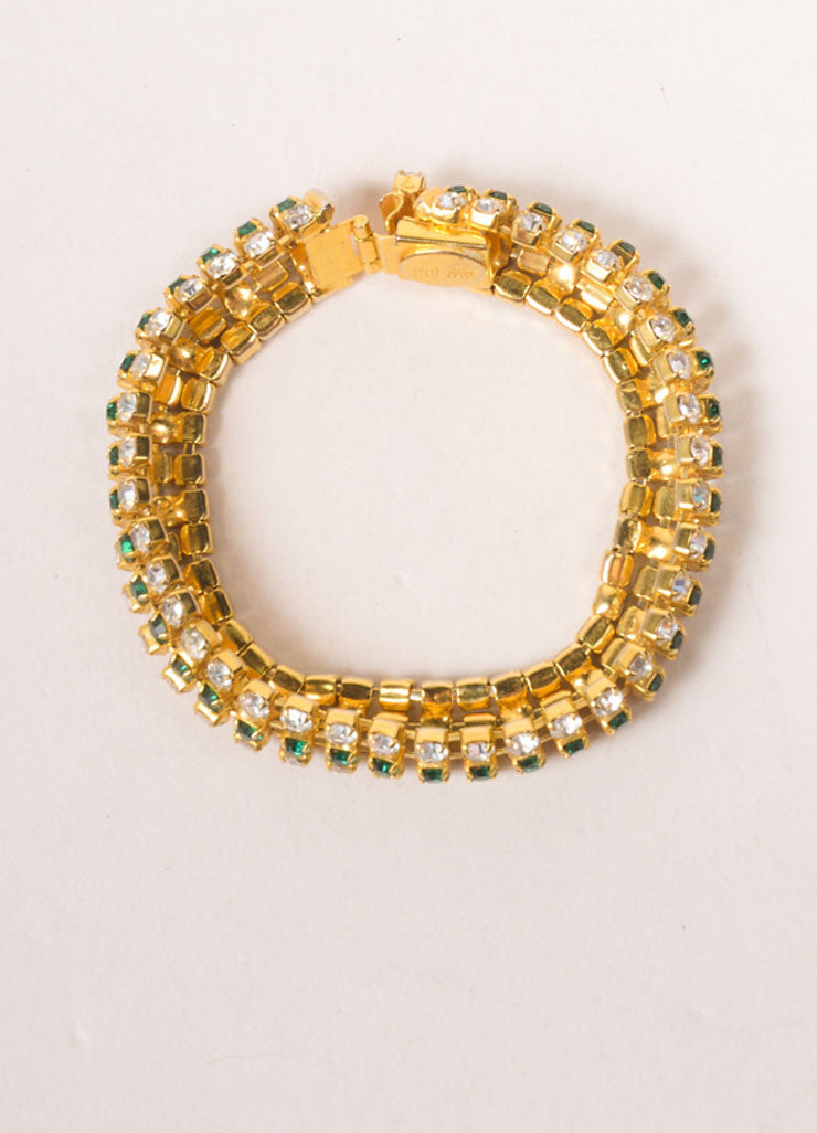 DeLillo Gold Toned and Green Rhinestone Bracelet Topview