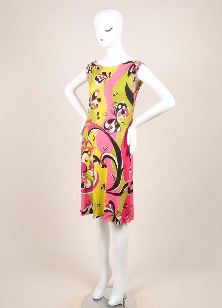 Emilio Pucci Multicolor Knit Graphic Print Sleeveless Dress Sideview