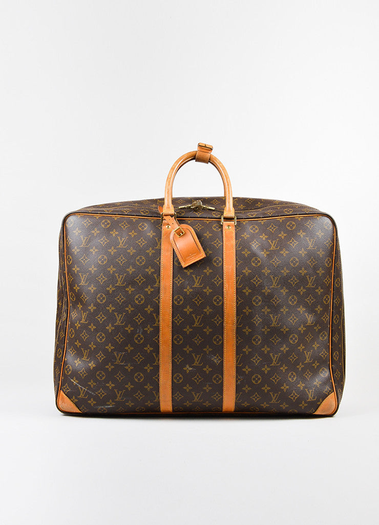 "Louis Vuitton Brown and Tan Canvas and Leather Monogram ""Sirius 60"" Suitcase Frontview"