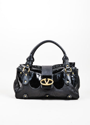 "Black Valentino Patent Leather ""Catch"" Satchel Handbag Frontview"