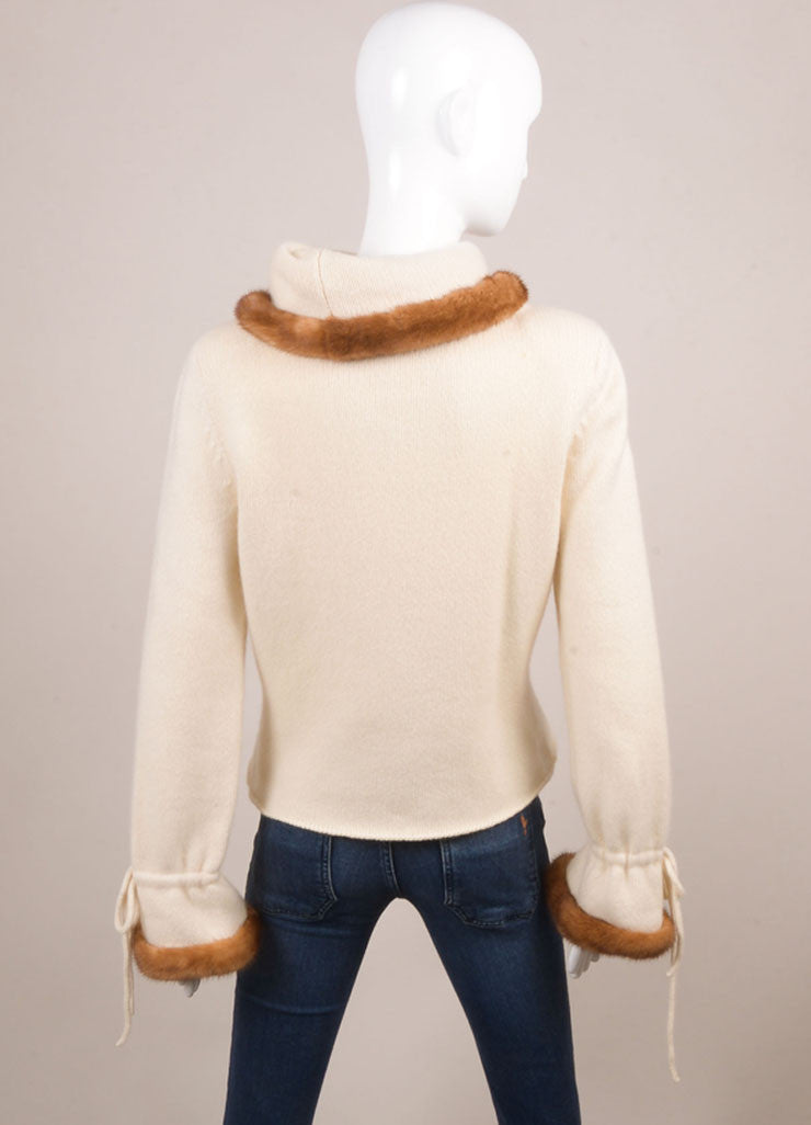 Valentino Cream Cashmere and Mink Trimmed Pull Over Sweater Backview