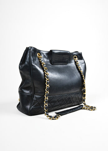 Black Chanel Quilted Leather Gold Toned Chain Strap Shopper Tote Bag Backview