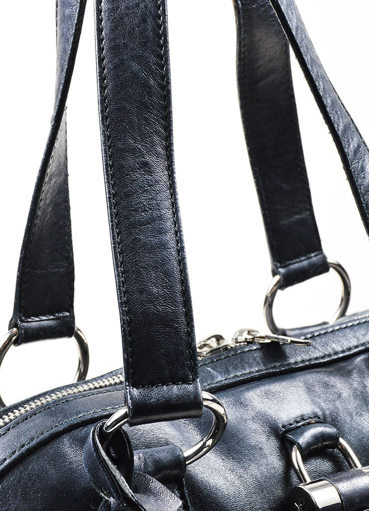"Black and Silver Toned Yves Saint Laurent Leather ""Muse"" Tote Bag Detail 2"
