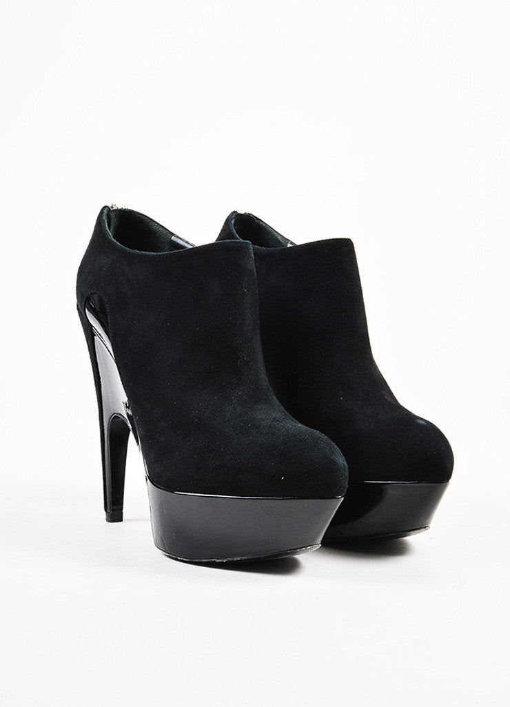 "Yves Saint Laurent Black Suede and Patent Leather ""Imperiale 95"" Booties Frontview"