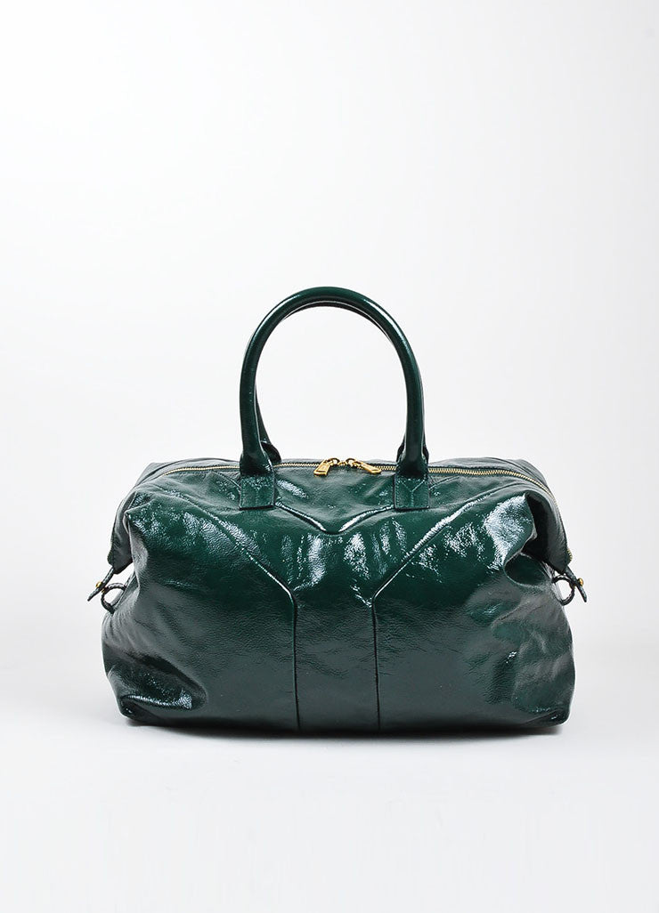 "Green Yves Saint Laurent Textured Patent Leather ""Easy"" Caryall Bag Frontview"