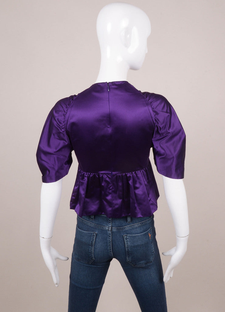 Royal Purple Prada Silk Pleated Waist and Sleeve Gathered Blouse