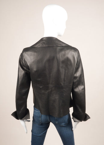 Akris Black Perforated Leather Long Sleeve Open Front Collared Jacket Backview
