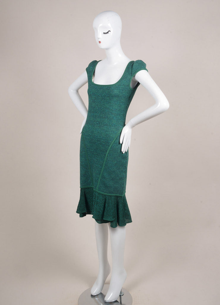 Alaia Green and Blue Metallic Knit Ruffle Trim Paneled Cap Sleeve Dress Sideview