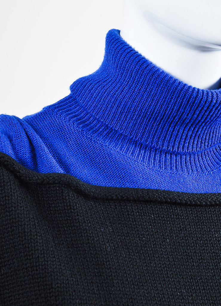 "Black and Cobalt Alexander Wang Wool Turtlenck ""Splittable"" Sweater Dress Detail"