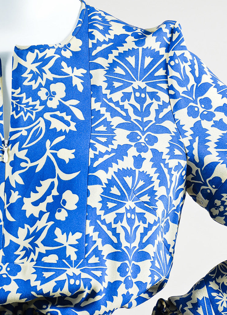Royal Blue and Cream Andrew Gn Silk Floral Print Long Sleeve Dress Detail
