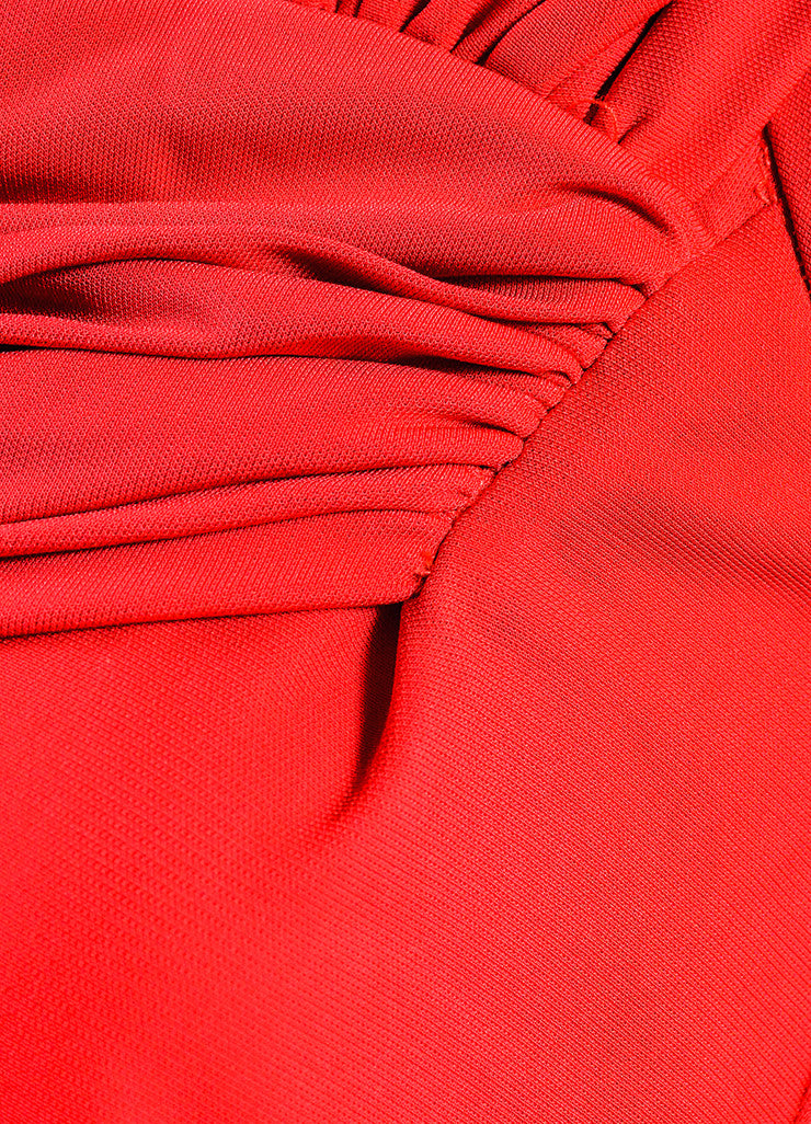 Red Badgley Mischka Stretch Jersey Crepe Long Sleeve Ruched Dress Detail