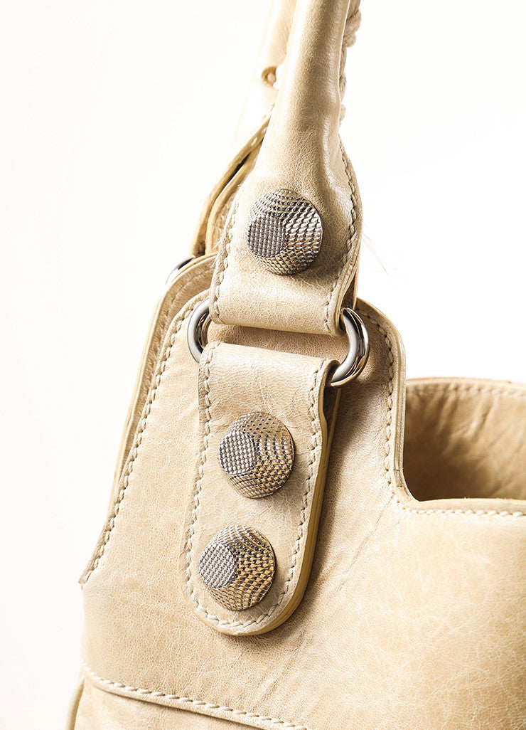 Balenciaga Tan Lambskin Studded Tote Bag Detail 3