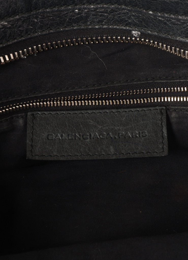 "Balenciaga Black Crinkle Leather Studded ""Arena Work"" Bag Brand"