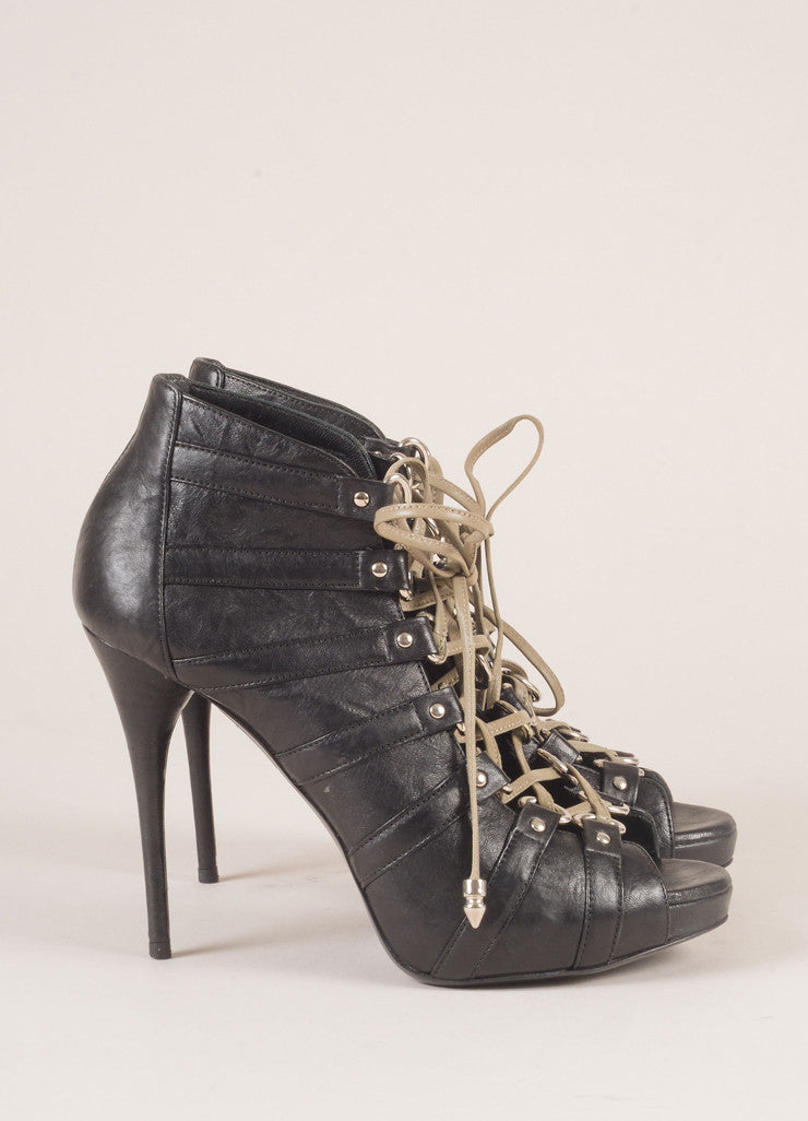 Balmain Black Leather Lace Up Peep Toe Booties Sideview