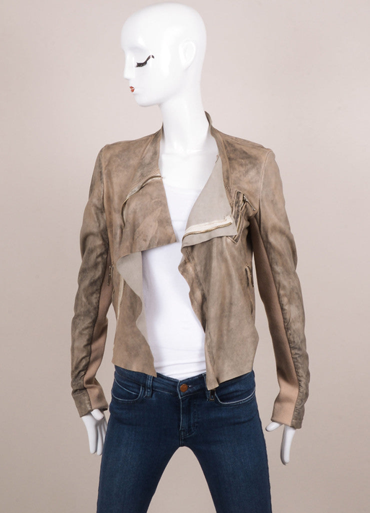 Blur Taupe and Brown Distressed Leather Long Sleeve Crop Moto Jacket Frontview Open
