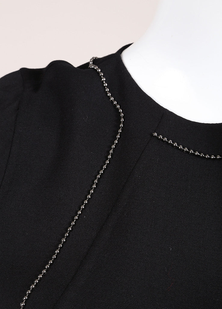 Bottega Veneta New With Tags Black Wool Short Sleeve Beaded Shift Dress Detail