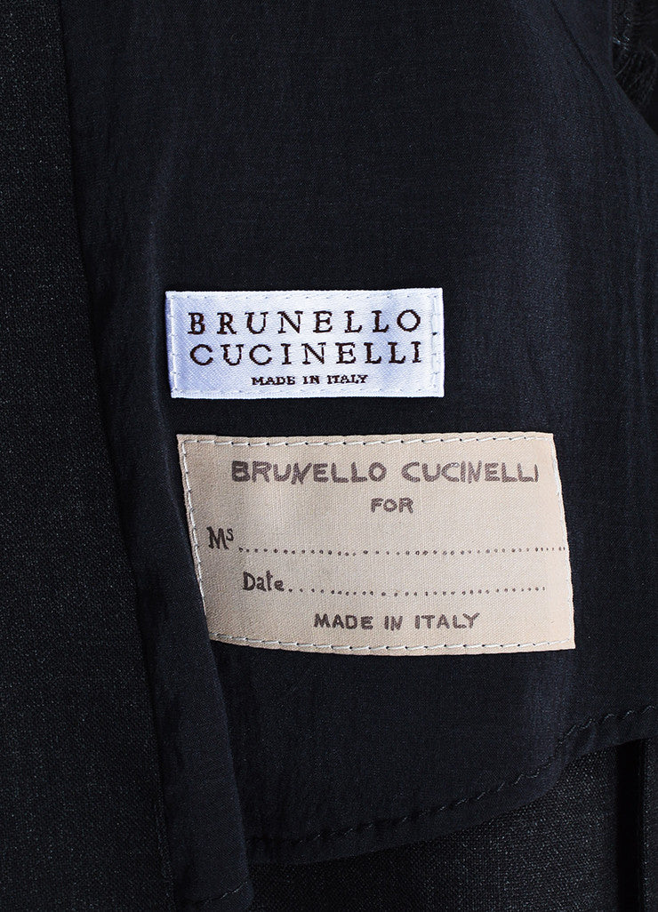 Brunello Cucinelli Charcoal Grey Wool Frayed Trim Double Breasted Vest Brand