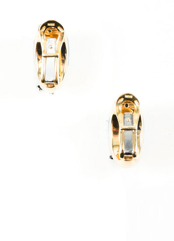 18K Yellow Gold and Blue Topaz Bulgari Clip On Huggie Earrings Backview