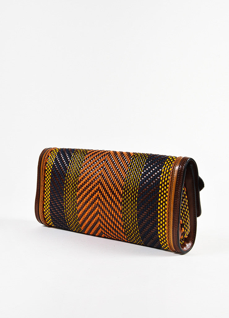 Burberry Prorsum Brown and Multicolor Leather Woven Gold Toned Buckle Flap Clutch Bag Sideview