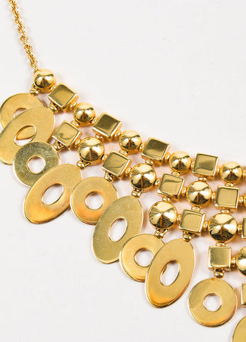 "Bvlgari 18K Yellow Gold Geometric ""Lucea Collection"" Chandelier Bib Necklace Detail"