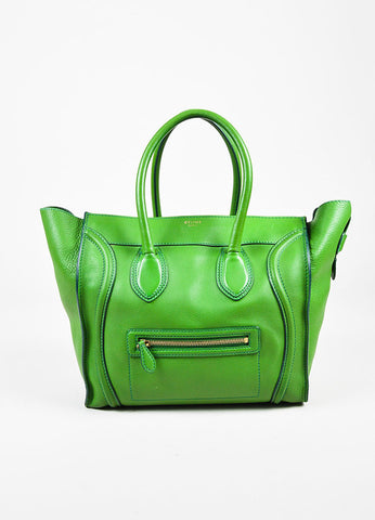 "Celine Green Leather Gold Toned Zip ""Mini Luggage Tote"" Bag Frontview"