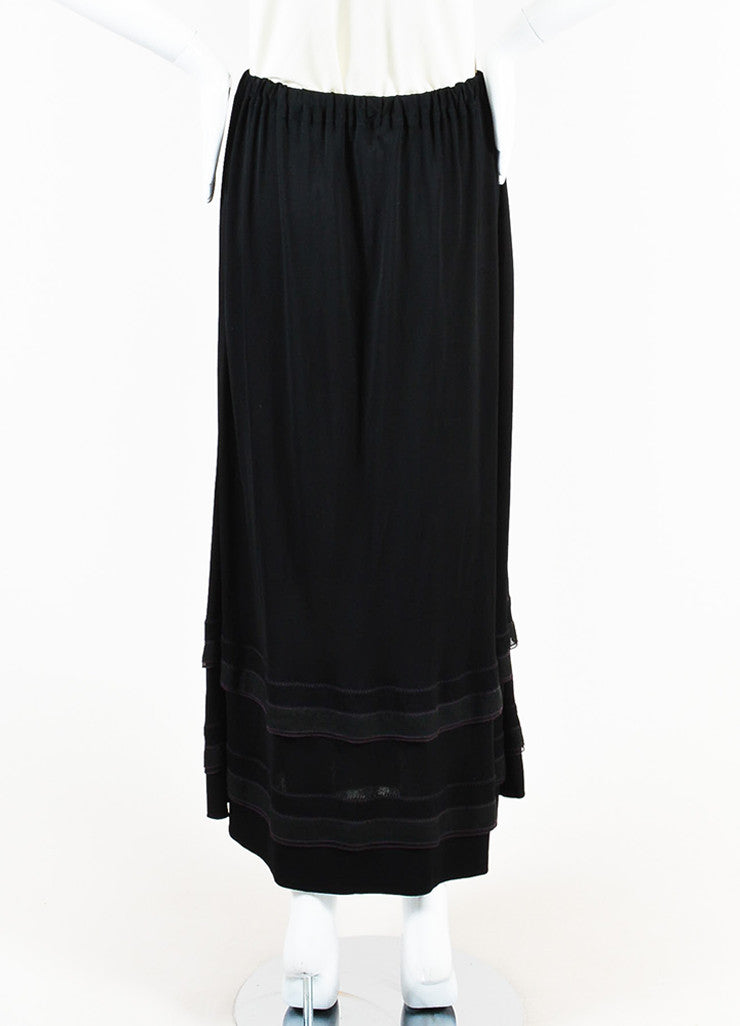 Chanel Black Jersey Ruffle Hem Drawstring Maxi Peasant Skirt Backview