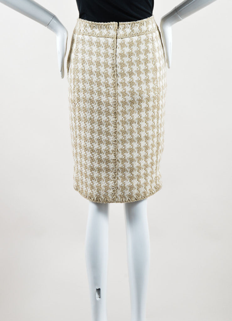 Chanel Taupe and White Silk Woven Houndstooth Pencil Skirt Backview