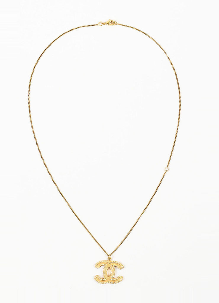 Gold Toned Chanel Textured 'CC' Logo Pendant Chain Necklace Frontview