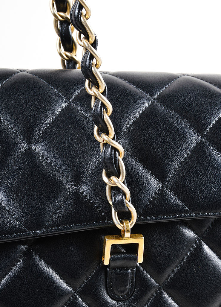 "Chanel Black Lambskin Leather Quilted ""CC"" Flap Large Shopper Tote Bag Detail 2"