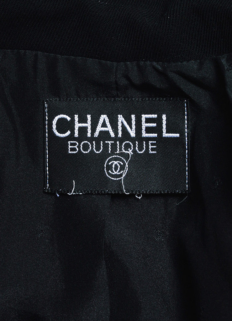 Chanel Black Twill Notch Lapel Double Breasted Blazer Brand